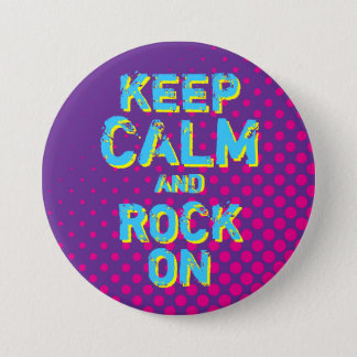 Purple Retro Halftone Keep Calm and Rock On Button