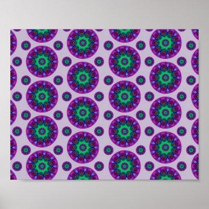 Purple Retro Mandala Pattern Poster