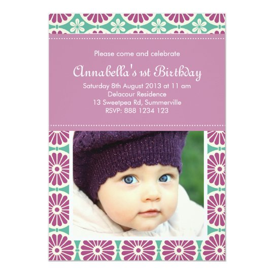 Purple Retro Pattern Photo Birthday Invitation