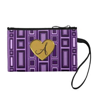 Purple retro squares monogram change purse