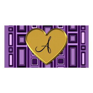 Purple retro squares monogram personalized photo card