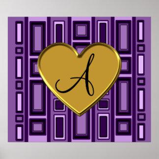 Purple retro squares monogram print