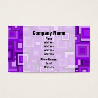 Purple Retro Squares Pattern Business Card