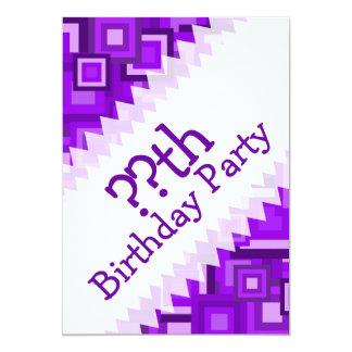 Purple Retro Squares Pattern Card