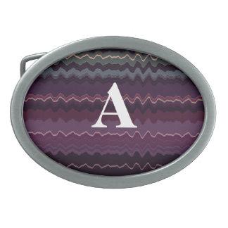Purple Retro Zigzag Initial Belt Buckle