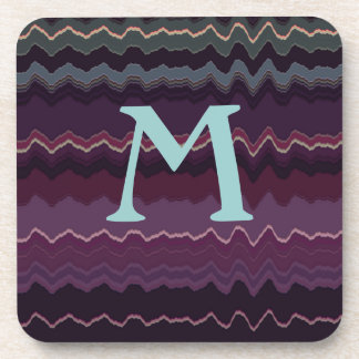 Purple Retro Zigzag Initial Drink Coasters