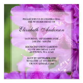 Purple Rhododendron Flowers 90th Birthday Party Card