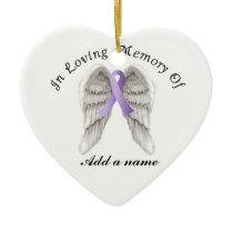 Purple Ribbon All Cancer In Memorial Ornament