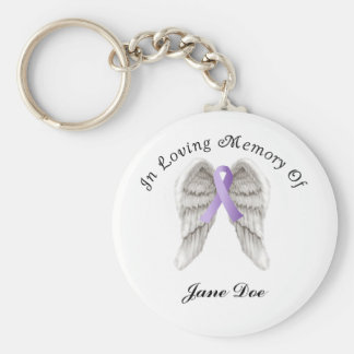 Purple Ribbon All Cancer In Memory Basic Round Button Keychain