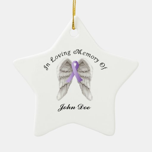 Purple Ribbon All Cancer In Memory Double-Sided Star Ceramic Christmas Ornament