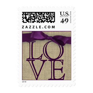 Purple Ribbon and Burlap Love Postage Stamps