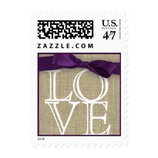 Purple Ribbon and Burlap Love Postage Stamp