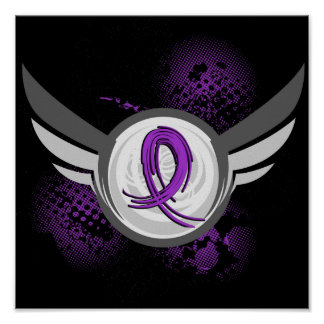 Purple Ribbon And Wings Alzheimer s Disease Poster