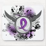 Purple Ribbon And Wings Alzheimer's Disease Mousepad