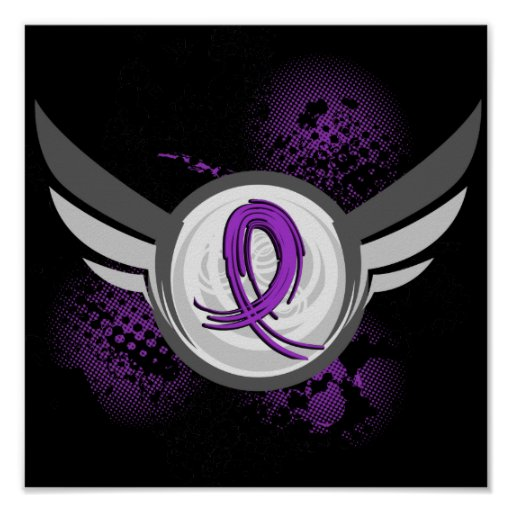 Purple Ribbon And Wings Alzheimer's Disease Poster