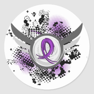 Purple Ribbon And Wings Alzheimer's Disease Round Stickers