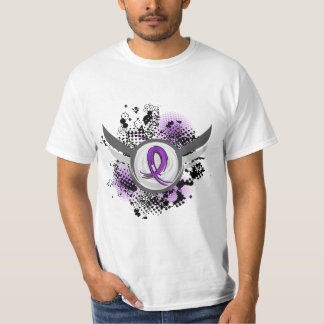 Purple Ribbon And Wings Alzheimer's Disease T-Shirt