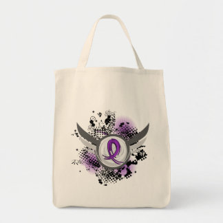 Purple Ribbon And Wings Anorexia Tote Bags