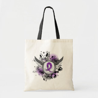 Purple Ribbon And Wings Anorexia Canvas Bag
