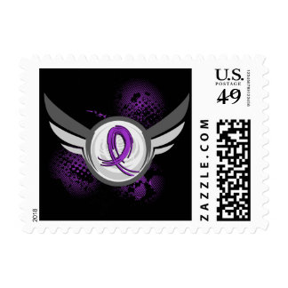 Purple Ribbon And Wings Bulimia Stamps