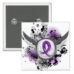 Purple Ribbon And Wings Chiari Malformation Button