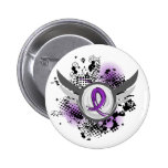 Purple Ribbon And Wings Chiari Malformation Pinback Button