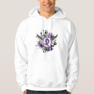 Purple Ribbon And Wings Chiari Malformation Hoodie