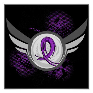 Purple Ribbon And Wings Chiari Malformation Poster