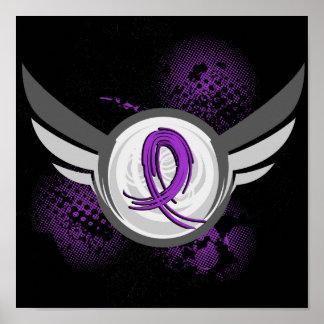 Purple Ribbon And Wings Chiari Malformation Poster