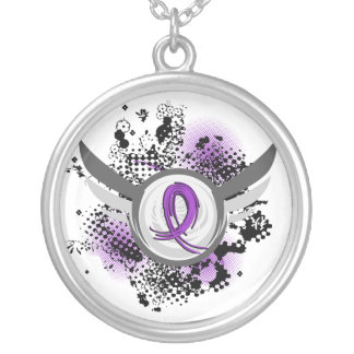 Purple Ribbon And Wings Chiari Malformation Silver Plated Necklace