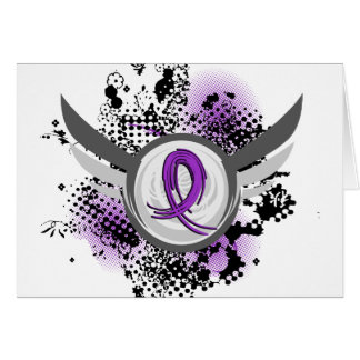 Purple Ribbon And Wings Cystic Fibrosis Greeting Card