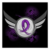Purple Ribbon And Wings Cystic Fibrosis Poster