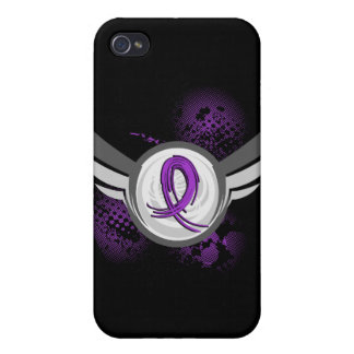 Purple Ribbon And Wings Fibromyalgia Covers For iPhone 4