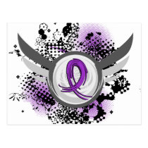 Purple Ribbon And Wings Fibromyalgia Postcard