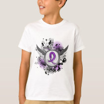 Purple Ribbon And Wings Fibromyalgia T-Shirt