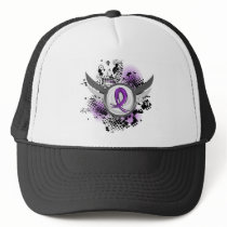 Purple Ribbon And Wings Fibromyalgia Trucker Hat
