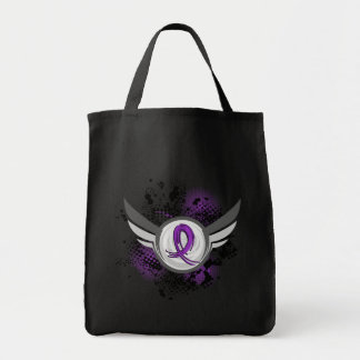 Purple Ribbon And Wings Lupus Tote Bags
