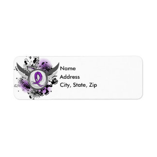 Purple Ribbon And Wings Pancreatic Cancer Label