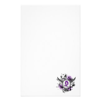 Purple Ribbon And Wings Pancreatic Cancer Stationery