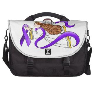 """Purple Ribbon"" Angel of Awareness Bags For Laptop"