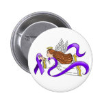 """Purple Ribbon"" Angel of Awareness 2 Inch Round Button"