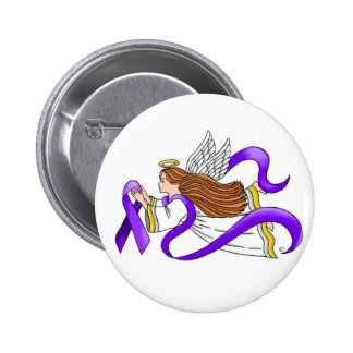 """Purple Ribbon"" Angel of Awareness Pinback Button"