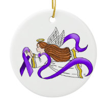 """Purple Ribbon"" Angel of Awareness Ceramic Ornament"