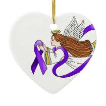 """""""Purple Ribbon"""" Angel of Awareness Ceramic Ornament"""