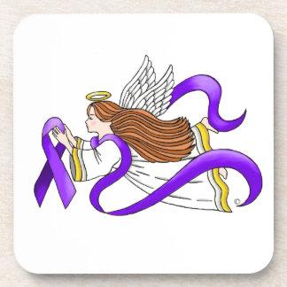 """Purple Ribbon"" Angel of Awareness Beverage Coasters"
