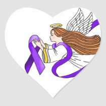"""Purple Ribbon"" Angel of Awareness Heart Sticker"