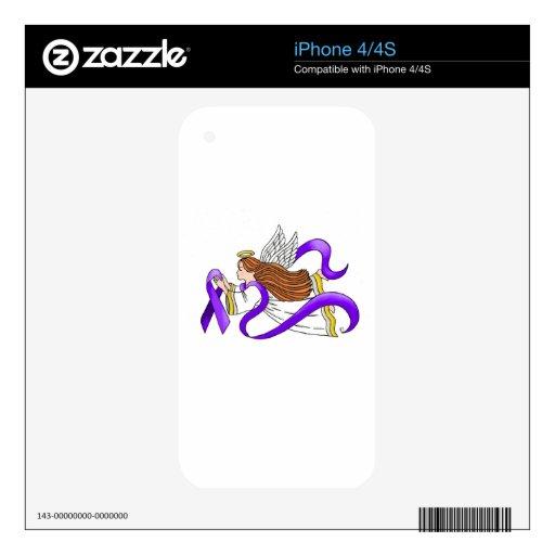 """Purple Ribbon"" Angel of Awareness iPhone 4 Decals"