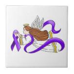"""Purple Ribbon"" Angel of Awareness Tiles"