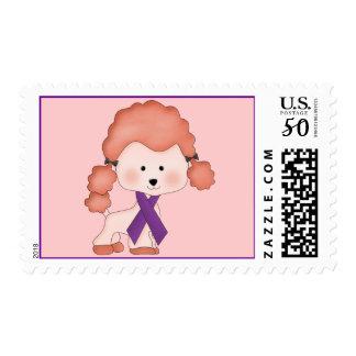 Purple Ribbon Awareness Dog Postage