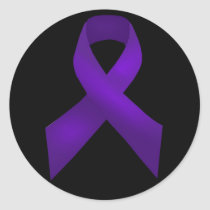 Purple Ribbon Awareness Lupus Classic Round Sticker